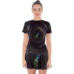 Vintage Camera Digital Drop Hem Mini Chiffon Dress