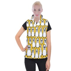 Yellow Owl Background Women s Button Up Vest by Sudhe