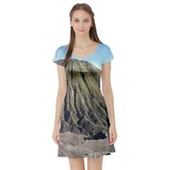 Mount Batok Bromo Indonesia Short Sleeve Skater Dress