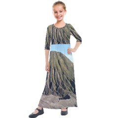 Mount Batok Bromo Indonesia Kids  Quarter Sleeve Maxi Dress by Sudhe