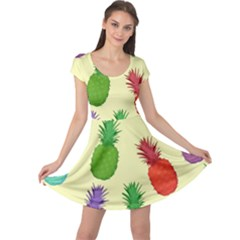 Colorful Pineapples Wallpaper Background Cap Sleeve Dress