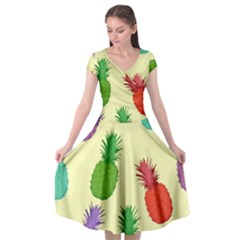 Colorful Pineapples Wallpaper Background Cap Sleeve Wrap Front Dress