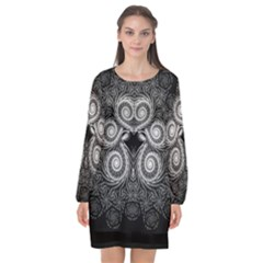 Fractal Filigree Lace Vintage Long Sleeve Chiffon Shift Dress