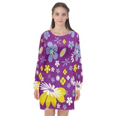 Floral Flowers Long Sleeve Chiffon Shift Dress