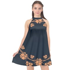 Floral Vintage Royal Frame Pattern Halter Neckline Chiffon Dress