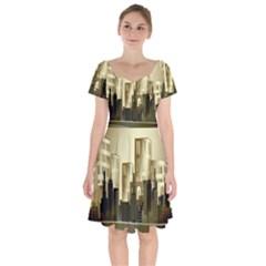 Architecture City House Short Sleeve Bardot Dress