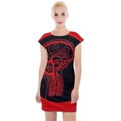 Artificial Intelligence Brain Think Cap Sleeve Bodycon Dress