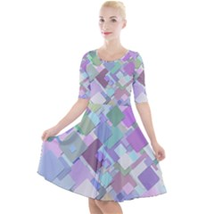 Colorful Background Multicolored Quarter Sleeve A Line Dress