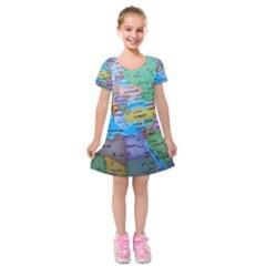 Globe World Map Maps Europe Kids  Short Sleeve Velvet Dress