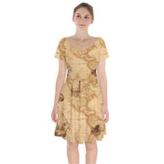 Map Discovery America Ship Train Short Sleeve Bardot Dress