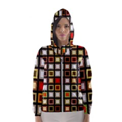 Squares Colorful Texture Modern Art Hooded Windbreaker (women) by Sudhe