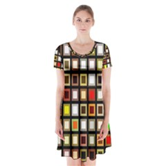Squares Colorful Texture Modern Art Short Sleeve V Neck Flare Dress by Sudhe