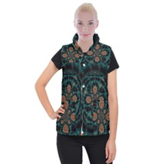 Abstract Digital Geometric Pattern Women s Button Up Vest by Sudhe