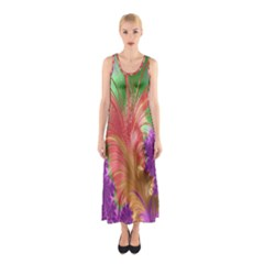 Fractal Purple Green Orange Yellow Sleeveless Maxi Dress