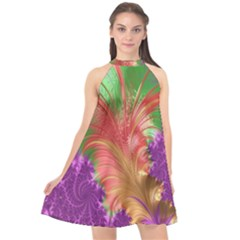 Fractal Purple Green Orange Yellow Halter Neckline Chiffon Dress  by Sudhe