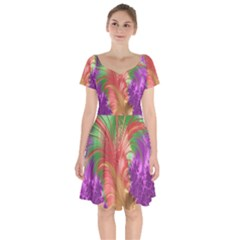 Fractal Purple Green Orange Yellow Short Sleeve Bardot Dress