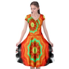 Abstract Kaleidoscope Colored Cap Sleeve Wrap Front Dress