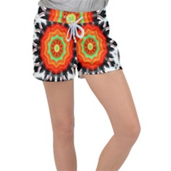 Abstract Kaleidoscope Colored Women s Velour Lounge Shorts by Sudhe