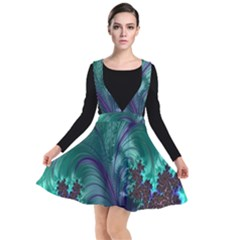 Fractal Turquoise Feather Swirl Plunge Pinafore Dress by Sudhe