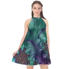 Fractal Turquoise Feather Swirl Halter Neckline Chiffon Dress  by Sudhe