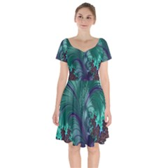 Fractal Turquoise Feather Swirl Short Sleeve Bardot Dress