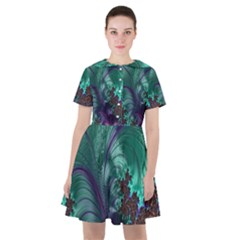 Fractal Turquoise Feather Swirl Sailor Dress by Sudhe