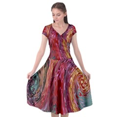 Color Rainbow Abstract Flow Merge Cap Sleeve Wrap Front Dress