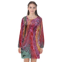 Color Rainbow Abstract Flow Merge Long Sleeve Chiffon Shift Dress
