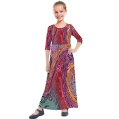 Color Rainbow Abstract Flow Merge Kids  Quarter Sleeve Maxi Dress by Sudhe