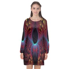 Abstract Abstracts Geometric Long Sleeve Chiffon Shift Dress