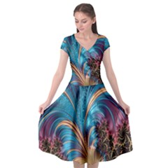 Fractal Art Artwork Psychedelic Cap Sleeve Wrap Front Dress by Sudhe