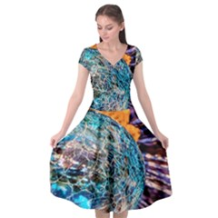 Multi Colored Glass Sphere Glass Cap Sleeve Wrap Front Dress