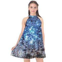Abstract Fractal Magical Halter Neckline Chiffon Dress