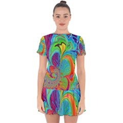 Fractal Art Psychedelic Fantasy Drop Hem Mini Chiffon Dress