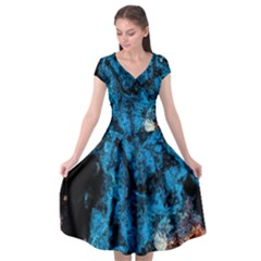 Abstract Fractal Magical Cap Sleeve Wrap Front Dress