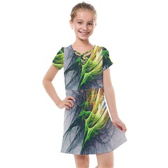 Fractal Art Paint Pattern Texture Kids  Cross Web Dress by Sudhe