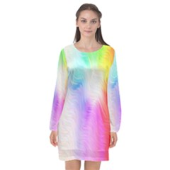 Psychedelic Background Wallpaper Long Sleeve Chiffon Shift Dress  by Sudhe