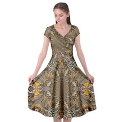 Abstract Digital Geometric Pattern Cap Sleeve Wrap Front Dress
