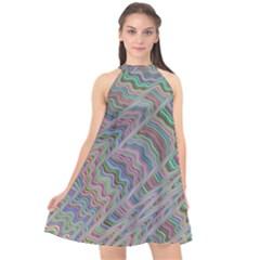 Psychedelic Background Halter Neckline Chiffon Dress