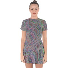 Psychedelic Background Drop Hem Mini Chiffon Dress by Sudhe