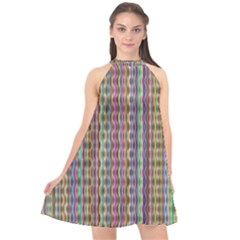 Psychedelic Background Wallpaper Halter Neckline Chiffon Dress  by Sudhe