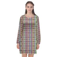 Psychedelic Background Wallpaper Long Sleeve Chiffon Shift Dress  by Sudhe