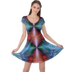 Fractal Background Design Cap Sleeve Dress
