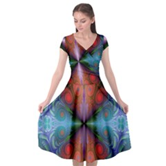 Fractal Background Design Cap Sleeve Wrap Front Dress by Sudhe
