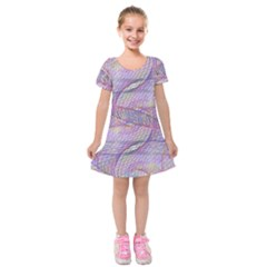 Purple Background Abstract Pattern Kids  Short Sleeve Velvet Dress by Sudhe