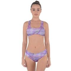 Purple Background Abstract Pattern Criss Cross Bikini Set by Sudhe