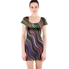 Psychedelic Background Wallpaper Short Sleeve Bodycon Dress