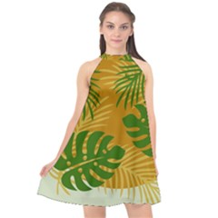 Leaf Leaves Nature Green Autumn Halter Neckline Chiffon Dress  by Sudhe