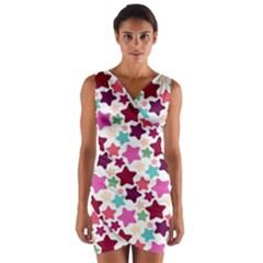 Stars Pattern Wrap Front Bodycon Dress by Sudhe