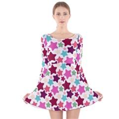 Stars Pattern Long Sleeve Velvet Skater Dress by Sudhe